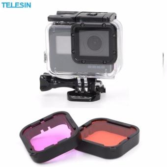 Telesin 2 Pcs Diving Camera Lens Filter Pack Red filter + Purplefilter + Storage Bag for GoPro hero5 Camera - 2