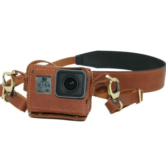 TELESIN Leather Camera Case Bag with Neck Strap for GoPro Hero 5 -intl - 2