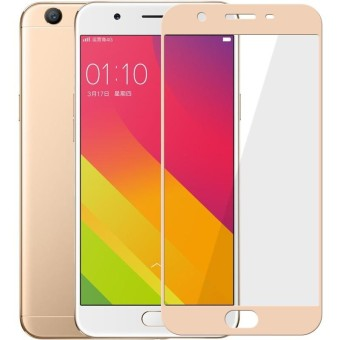 Tempered Glass Full Screen Protector HD For Oppo F3 (Gold)