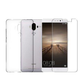 Tempered Glass Screen Film + Ultra Thin Clear TPU Soft back PhoneCase For Huawei Mate 9 - intl