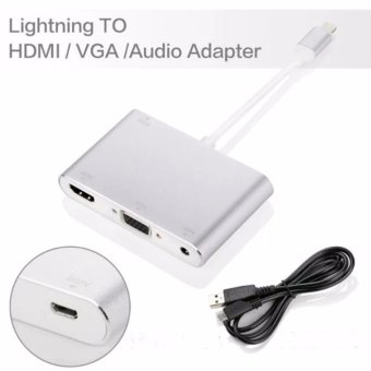 The Newest Type Lightning to HDMI and VGA and Audio Adapter for iPhone 5 5s SE 6 6s 6plus 6sPlus 7 7Plus for iPad Mini Air Pro iPod(Silver) - intl
