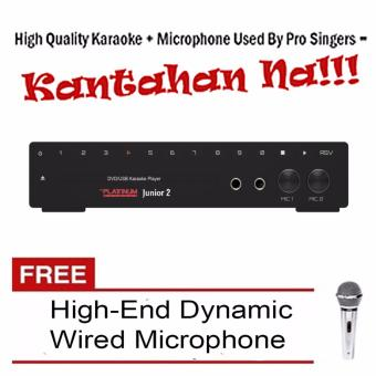 The Platinum Kool Sound Junior 2 KS-10 DVD Karaoke Player (Black) Built-in 12000 Songs with Free High-End Wired Microphone