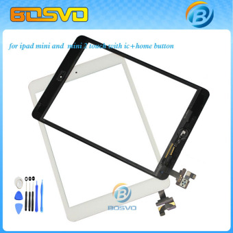 Touch screen for ipad mini or mini 2 digitizer glass lcd panel+home buttom with ic connector 1 piece free shipping+ 3M sticker -Intl