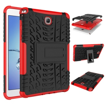 TPU Dual Layer Grip Cover with Kickstand for Samsung Galaxy Tab A 8.0 Inch Tablet SM-T350 (Red)