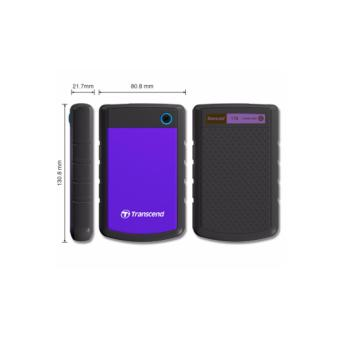 Transcend StoreJet Rugged Compact 25H3P 2TB 3.0 Portable Hard Drive (Purple) + 3 YEARS WARRANTY - 5