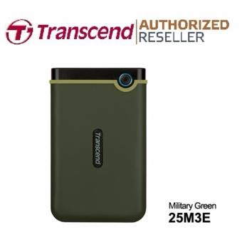 Transcend StoreJet Rugged Compact 25M3E 2TB 3.0 Portable Hard Drive (Military Green) + 3 YEARS WARRANTY