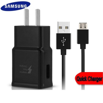 Travel / Home Quick Charger For Samsung Galaxy S3 / S4 / J1 / J7 /J5 / A8 / A7 / A5 / A3 / E7 Whit USB Cable (Black)