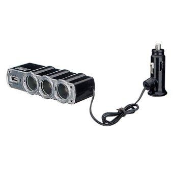 Triple USB Car Cigarette Lighter Socket Splitter Charger Adapter 12V 24V (Black) - 3