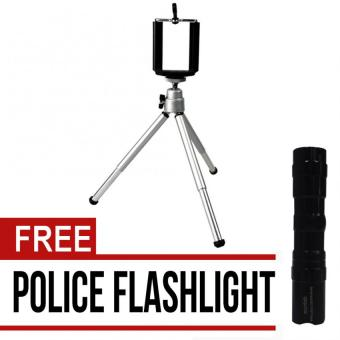 Tripod Stretchable Tabletop Bracket Portable Holder Selfie Stick(Silver) with free Police Flashlight