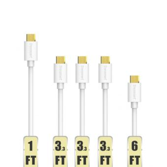 Tronsmart MUPP7 Premium USB Cables with Gold connector 5 Pack White(1ft*1+3.3ft*3+6ft*1 )