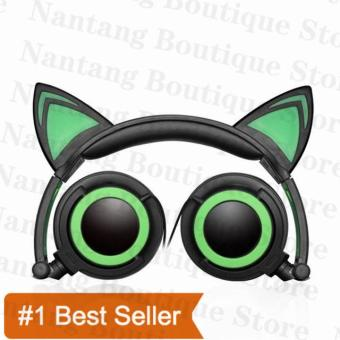 TTLIFE The Fashion Foldable Flashing Glowing cat ear headphonesGaming Headset Earphone with LED light For PC Laptop ComputerMobile Phone(green)