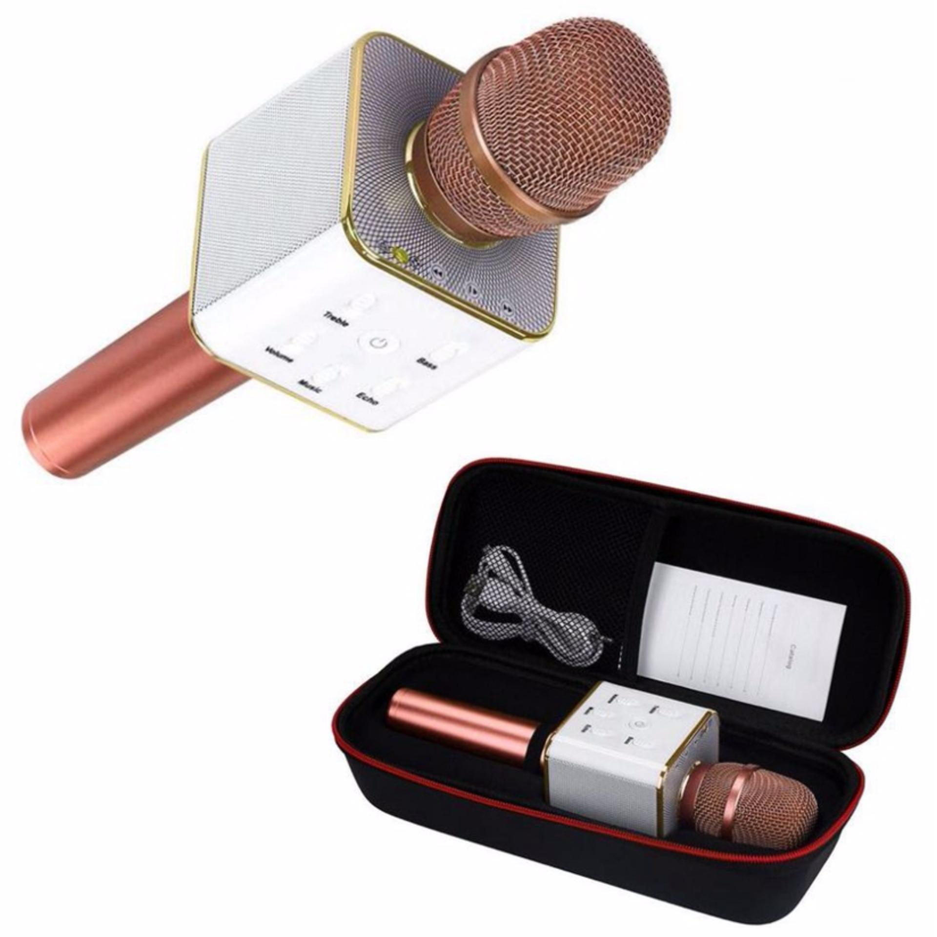 ... TUXUN Q7 Mini KTV Karaoke Wireless Bluetooth Microphone with Mic Speaker Condenser (Rose Gold) ...