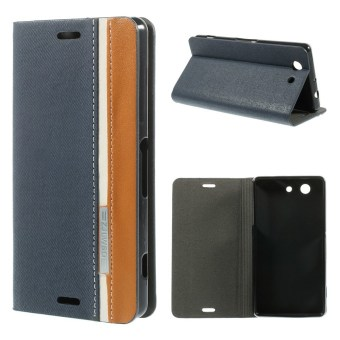 Two-color Flip Leather Stand Case Cover for Sony Xperia Z3 CompactD5803 M55w - Dark Blue - intl