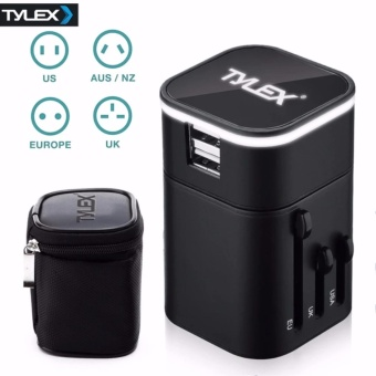 Tylex 2 USB Port All in One Universal International Plug Adapter World Travel AC Power Charger Adaptor AU, US, UK & EU Plug (Black)