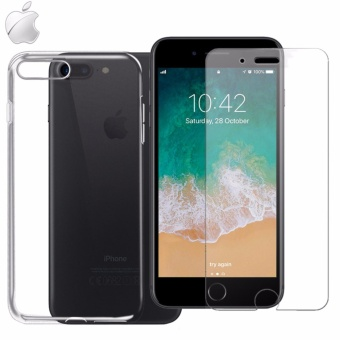 Tylex Tempered Glass 2 Pcs with FREE Jelly Case For iPhone 7 Plus (Clear)