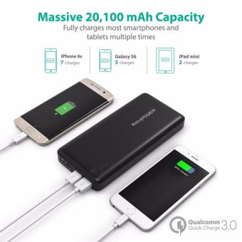 Type-C/USB-C Input & Output RAVPower RP-PB43-BLACK 20100mAhPortable Charger QC 3.0 Qualcomm Quick Charge 3.0 Power BankExternal Battery Pack for Macbook, Nexus 6, iPhone and More - 2