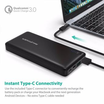 Type-C/USB-C Input & Output RAVPower RP-PB43-BLACK 20100mAhPortable Charger QC 3.0 Qualcomm Quick Charge 3.0 Power BankExternal Battery Pack for Macbook, Nexus 6, iPhone and More - 3