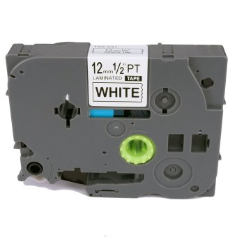 TZe231 Compatible Label Tape for Brother Tze-231 TZ-231 TZ231 Blackon White (1/2 inch 12mm) x 8m