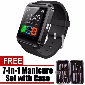U8 Bluetooth Android Smart Mobile Phone Wrist Watch (Black) WithFree Manicure Set