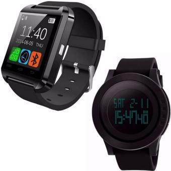 U8 Bluetooth Android Smart Mobile Phone Wrist Watch (Black)WithFreebang SKMEI Brand Men Sports Watches Mens Fashion Casual LEDDigital Watch Relogio Masculino Military Waterproof Wristwatches1142 - Intl (Black)