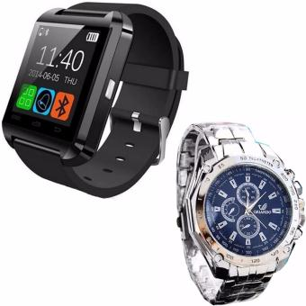 U8 Bluetooth Android Smart Mobile Phone Wrist Watch (Black)WithLuxury Men's Fashion Stainless Steel Band Sport Quartz BusinessAnalog Watch Wristwatches (Blue)