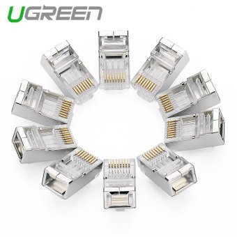 UGREEN 10Pcs/pack Cat6 Shielded Crimp Connector RJ45 8P8C STPEthernet Network Cable Plug