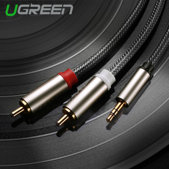 UGREEN 3.5mm to 2 RCA HIFI Audio Cable Nylon Braided Aux CableCompatible with MP3/4 Cellphone iPod - 3m