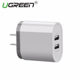 UGREEN 5V3.4A Universal Dual USB Phone Wall Charger Travel ChargerAdapter - White,USA Plug