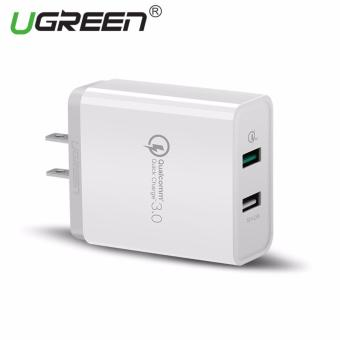 UGREEN Dual USB Wall Charger Fast Mobile Phone Wired Charger withQuick Charge 3.0 Ports for Smartphones - White,US Plug - intl