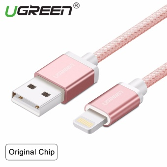 UGREEN Metal Alloy Original USB Lightning Cable USB Charger CordNylon Bradied Design for iPhone 4 5 6 7 iPad - Rose Gold,2M - intl