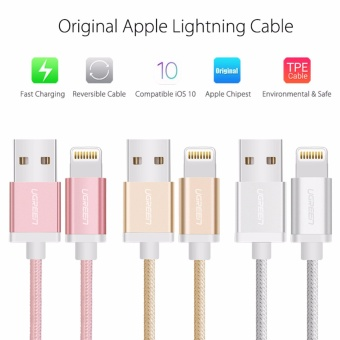 UGREEN Metal Alloy Original USB Lightning Cable USB Charger CordNylon Bradied Design for iPhone 4 5 6 7 iPad - Rose Gold,2M - intl - 3