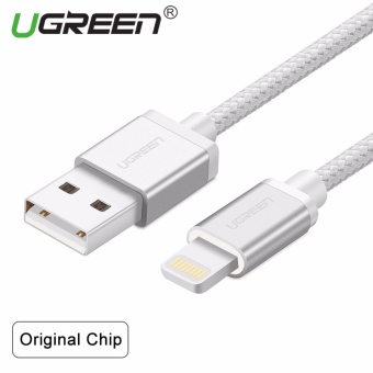 UGREEN Metal Alloy USB Lightning Cable USB Charger Cable NylonBradied Design for iPhone 4 5 6 7 iPad - Silver,1.5M - intl