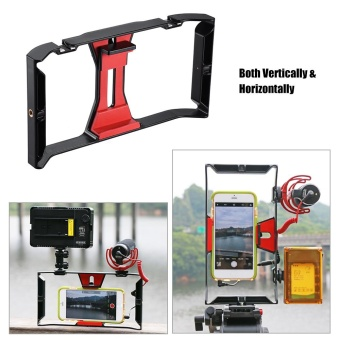Ulanzi Handheld Smartphone Film Making Rig Handle Stabilizer Bracket Holder Cradle Phone Clip w/ Two Hot Shoe Mount for Apple iPhone 7/7s/6s/6 for Samsung Huawei Video Photo Studio ^ - intl