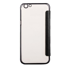 Ultra Clear Slim Case With Flip Cover For Oppo F1S (Black) With Free Tempered