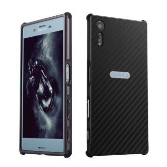 Ultra Slim Carbon Fiber Metal Frame Case Back Cover for Sony Xperia XZ (Black)