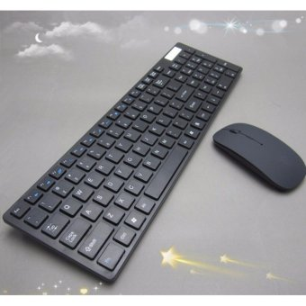 Ultra Slim Silent Wireless 2.4GHz Mini Keyboard and Mouse Set with USB Bluetooth Receiver for PC Laptop Android Smart TV - intl