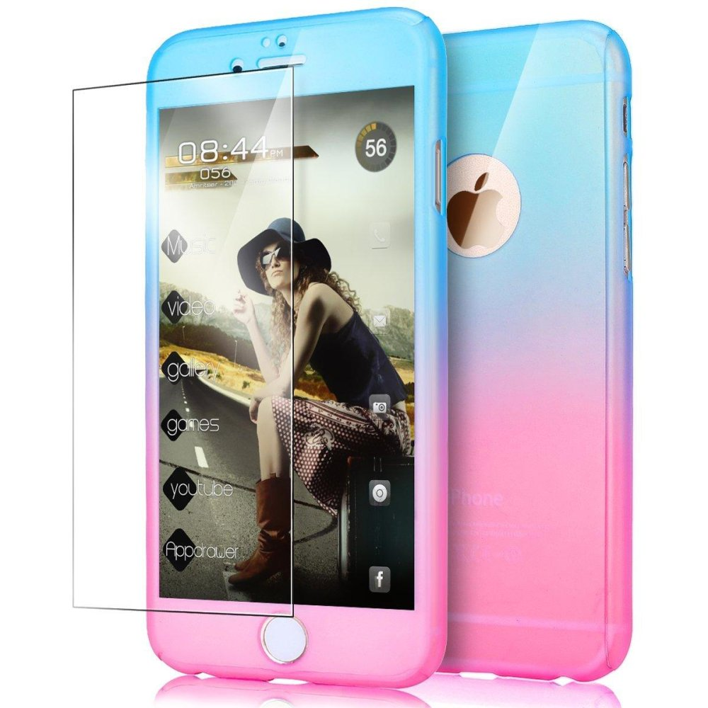 ... Ultra Thin 360 Degree Full Body Coverage Protection Gradient RampVibrant Colorful PC Hard Slim Case with ...