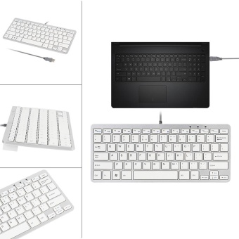 Ultra Thin Slim 78 Key Wired USB Mini PC Keyboard for PC Apple Mac Laptop WH - intl