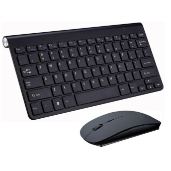 Ultra Thin Wireless keyboard mouse 2.4G keyboard Mouse combo and2.4G USB Receiver for Macbook,Computer PC,Laptop and TV BOX - Black- intl