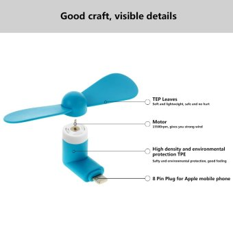 Ultralite Cell Phone Mini Fan for Apple iPhone5/5s/6/6s/6sPlus/iPads and Powerbanks with 8-pin LightningConnector Port (Blue) - 3