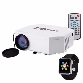 Unic UC30 Mini Portable Projector (White) with Modoex M1 Smart Gear Bluetooth Phone Watch (Black)