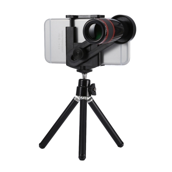 Universal 12x Zoom Optical Telescope Telephoto Camera Lens Kit for iPhone 6s and 6s Plus, iPhone 6 and 6 Plus, Samsung Galaxy S6 / S5, HTC, Sony, Suitable for Width as 5.5cm-8.5cm Mobile Phone(Black)