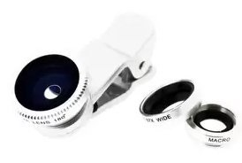 $Universal 3-in-1 Clip-On Wide Angle + Fisheye + Macro Lens Set for Smartphone and Tablet Camera (Silver)