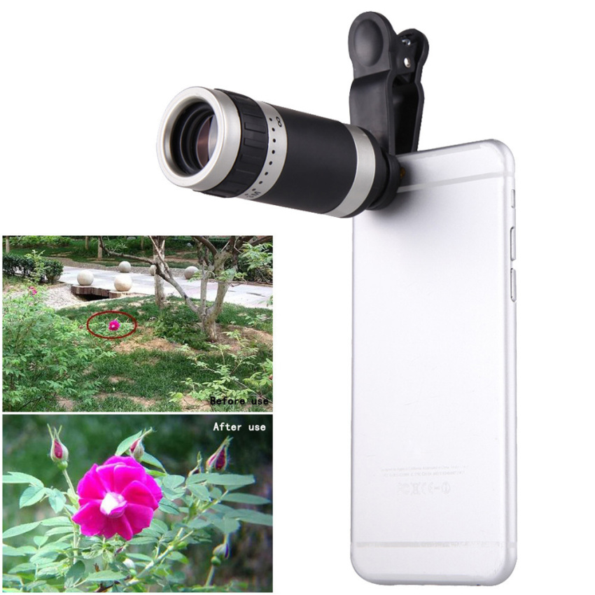 Universal 8X Zoom HD Optical Lens Telescope for Mobile Phone Camera Silver