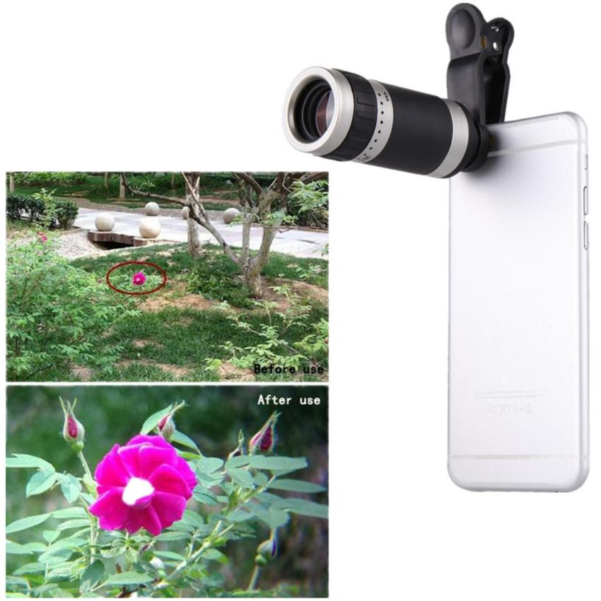 Universal 8X Zoom HD Optical Lens Telescope for Mobile Phone Camera(Black&Silver)