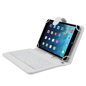 Universal Leather Case Cover with Micro USB Keyboard for 7 inchTablet PC (White)