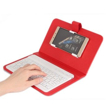 Universal Wireless Bluetooth Keyboard Holster Flip PU Case Cover For Cellphone In 4.5''-6.5'' - intl
