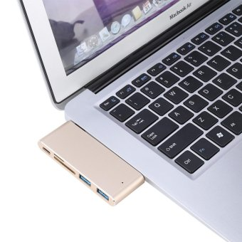 USB-C 3.1 Multi-port Hub Adapter 2 USB3.0 Ports Type-C PD SD/TFCard Reader for MACBOOK Gold - intl