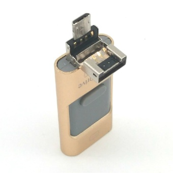 USB Flash Drive Phone OTG for iphone 7 6 6S 64gb Lightning to MetalPen Drive U Disk for iOS10 memory stick(Gold) - intl - 3