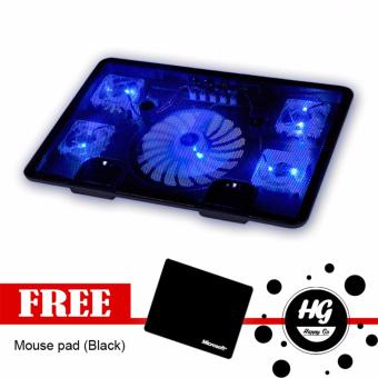 USB LED Light Laptop Cooling Cooler Pad Stand 5-Fans (Black) withFree Mousepad
